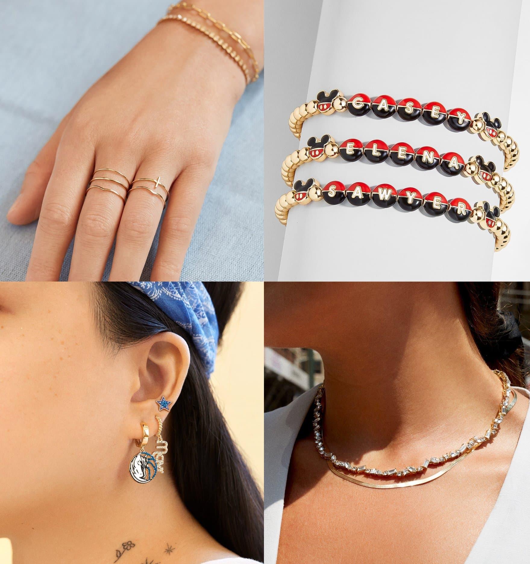 BaubleBar Quintet 18K Gold ring set, $62; BaubleBar Mickey Mouse Disney Custom Pisa bracelet, $40; Dallas Maverick earring set, $68; BaubleBar Femi Tennis necklace, $68