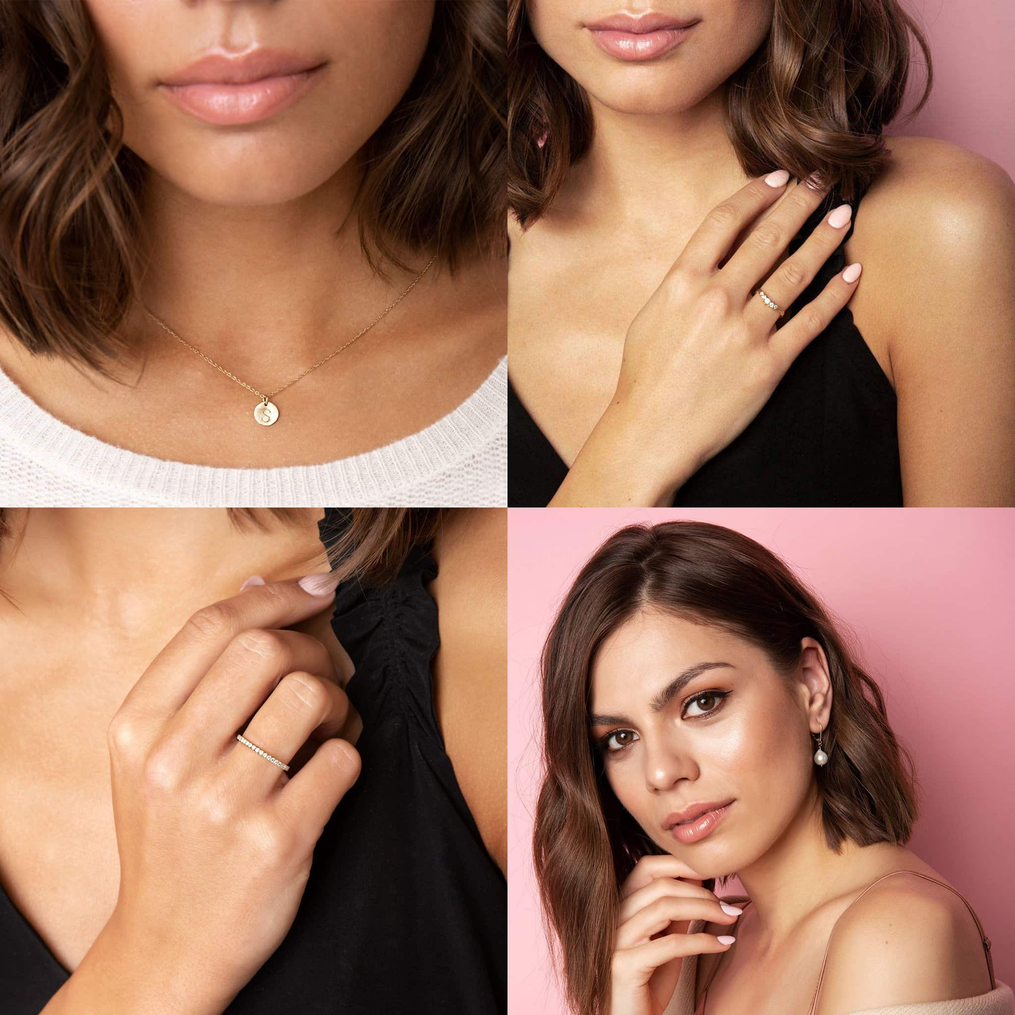 Chupi 14K Gold Initial Letter Midi Disc necklace, $418; 14K Gold Twig Band Crown of Love Diamond ring, $2,020; Chupi 14K Polished Gold Half Eternity Diamond ring, $1,302; Chupi 14K Gold Teardrop Pearl earrings, $442