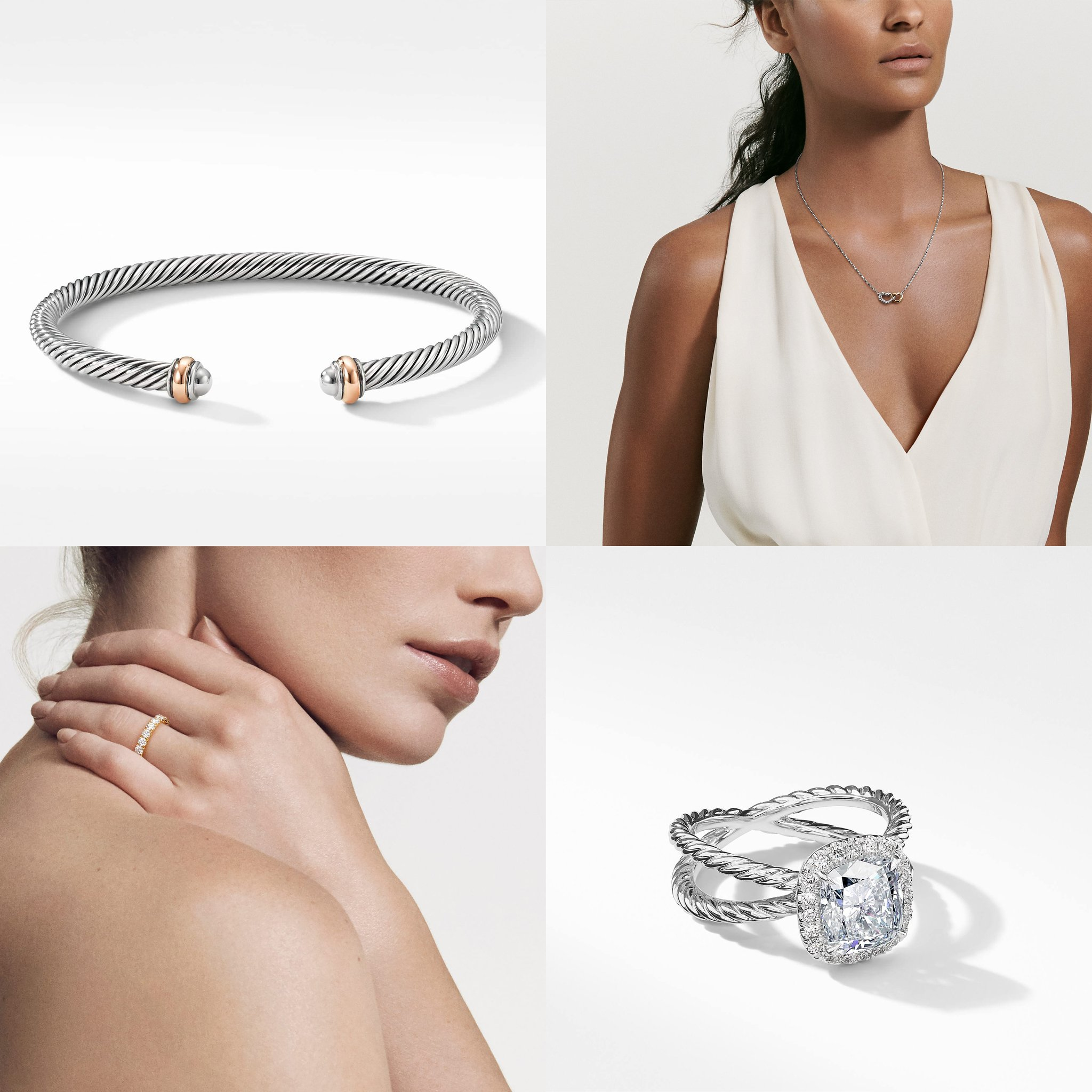 David Yurman Cable Classics Collection bracelet with 18k rose gold, $395; David Yurman Cable Collectibles Double Heart necklace with 18k yellow gold, $350; DY Eden Single Row wedding band with diamonds in 18k gold, $11,000; DY Crossover Capri engagement ring in platinum