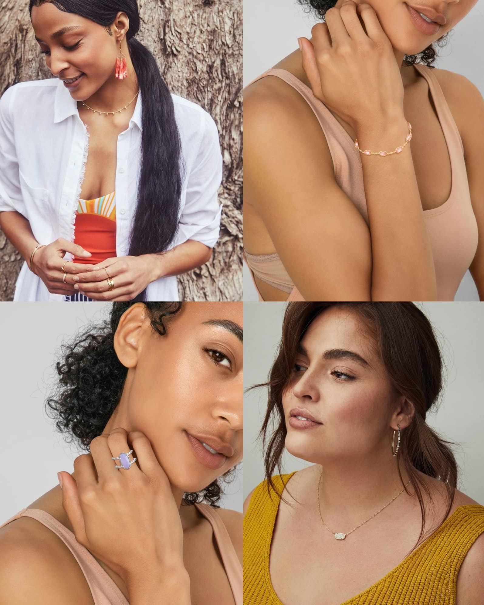 Kendra Scott Layton Gold Statement Earrings in Red Oyster, $128; Kendra Scott Emilie Gold Chain Bracelet in Rose Mother of Pearl, $68; Kendra Scott Elyse Double Band Ring in Matte Iridescent Lilac Glass, $60; Kendra Scott Elisa Silver Pendant Necklace in Iridescent Drusy, $68
