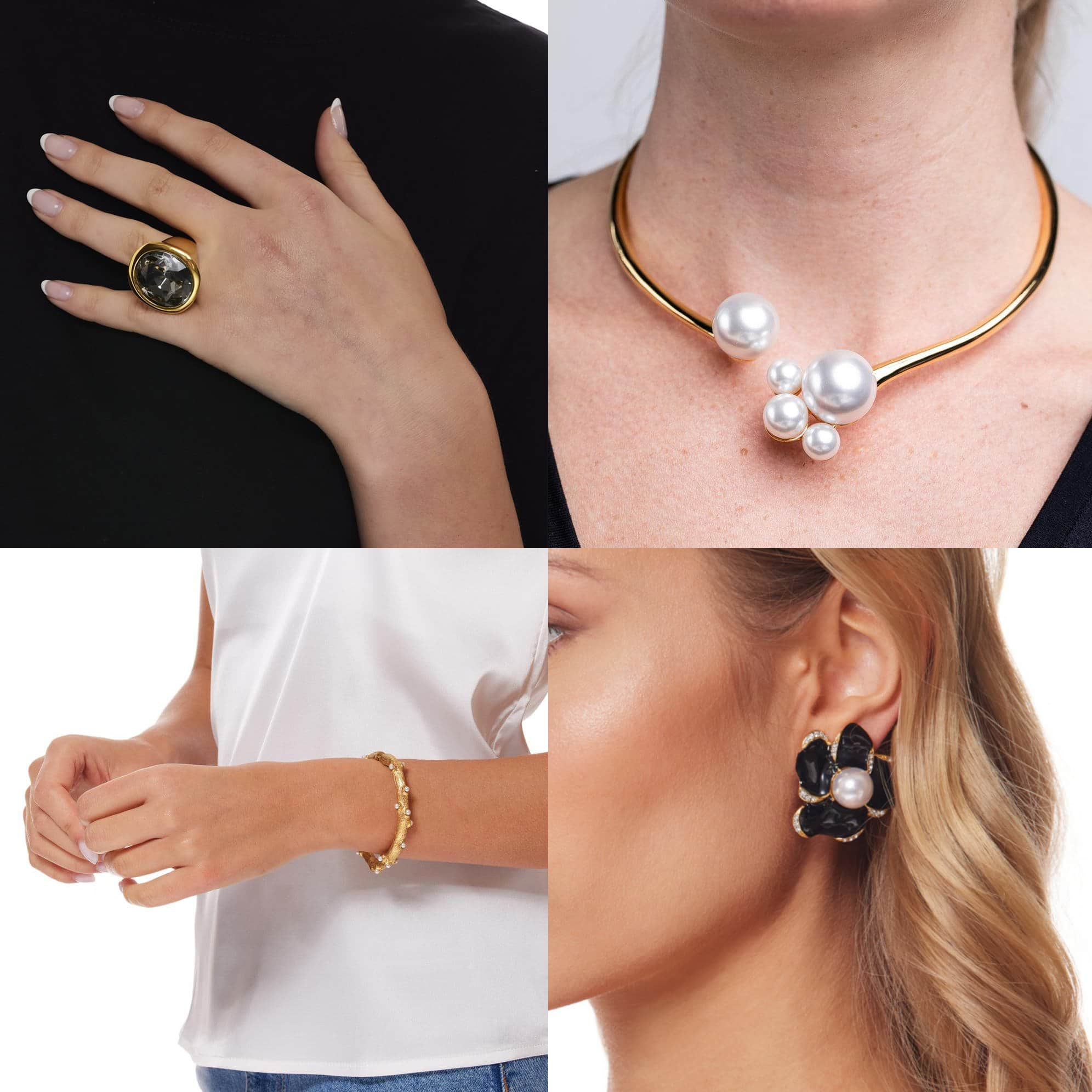 Kenneth Jay Lane Black Diamond Headlight ring, $95; Kenneth Jay Lane Pearl Cluster bib necklace, $235; Kenneth Jay Lane Gold Hinged Coral Shaped Bracelet with Pearl Dots, $165; Gold and Rhinestone Flower with Black Enamel Petals Clip earring, $165