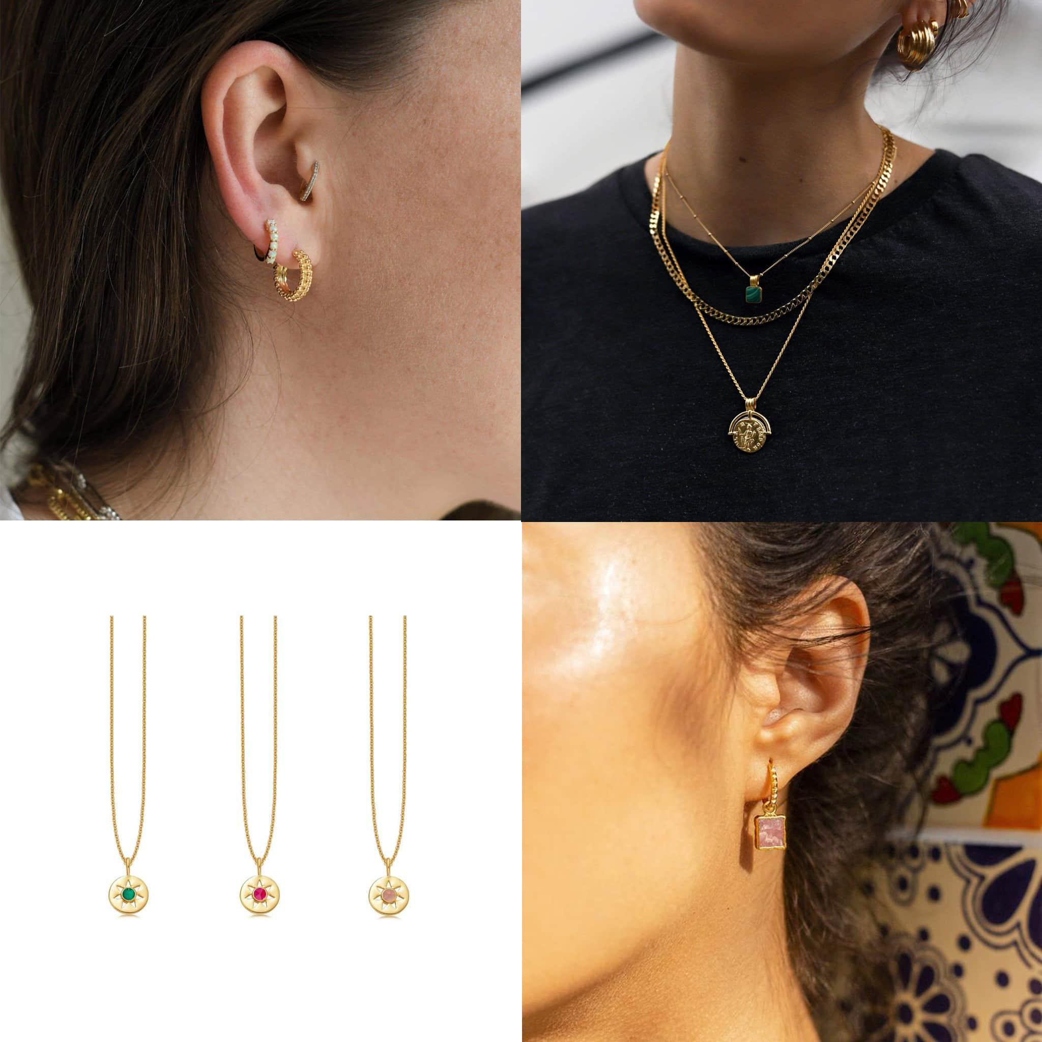 Missoma Mini Baya and Single Stone Huggies earring set, $175; Missoma Lucy Williams Roman Coin Malachite necklace set, $511; Missoma Birthstone Pendant necklace, $123; Missoma Mini Pyramid Charm hoop earrings, $110
