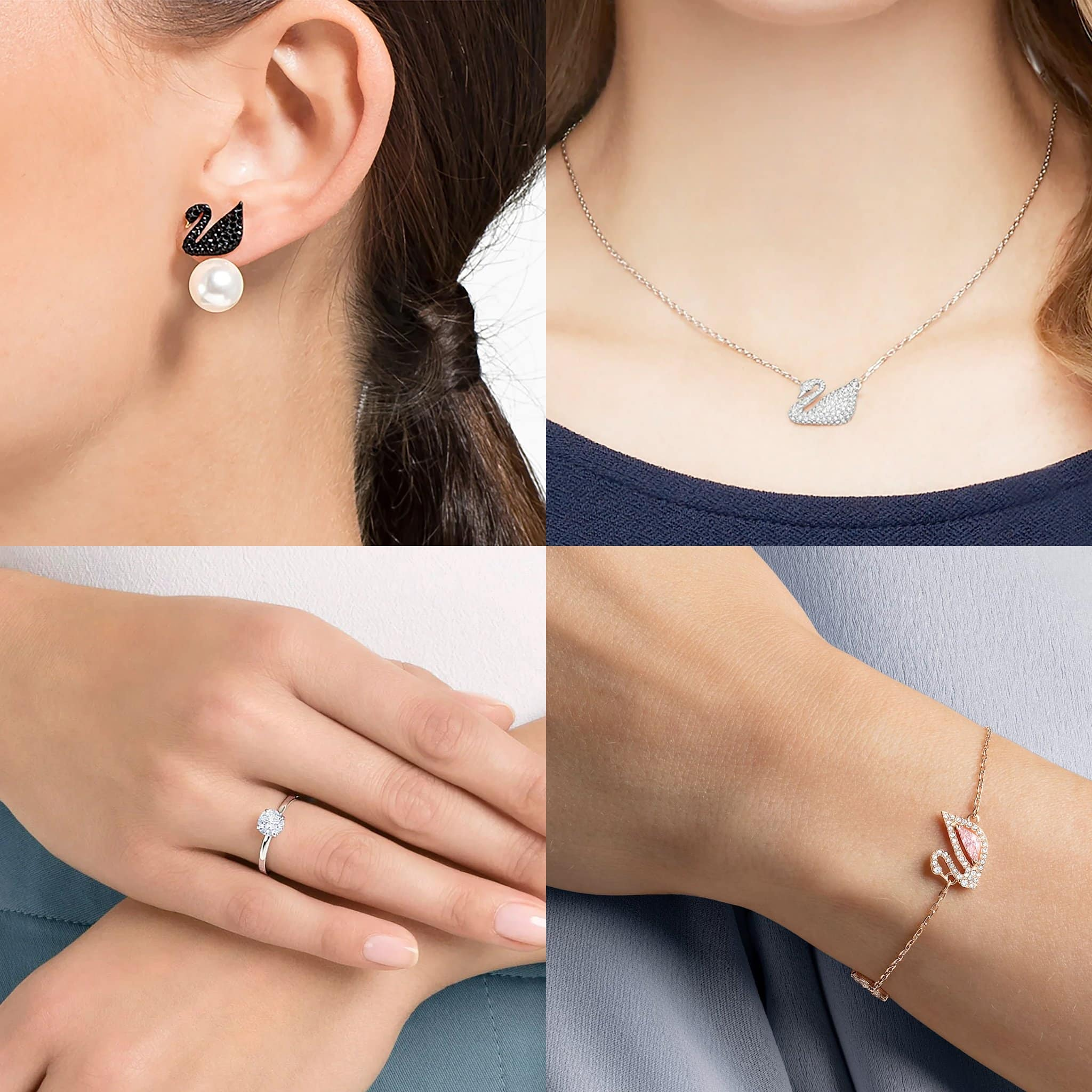 Swarovski Iconic Swan Pierced Earring Jackets, Swarovski Swan necklace, Swarovski Attract ring, Swarovski Dazzling Swan bracelet