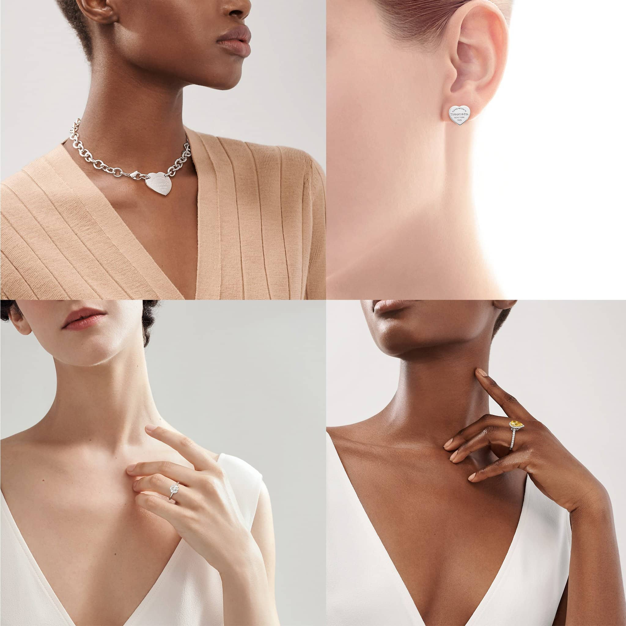 Return to Tiffany Heart Tag necklace, $675; Return to Tiffany Heart Tag Stud earrings, $200; Tiffany True engagement ring; Tiffany Soleste Pear-shaped Halo engagement ring, $32,400