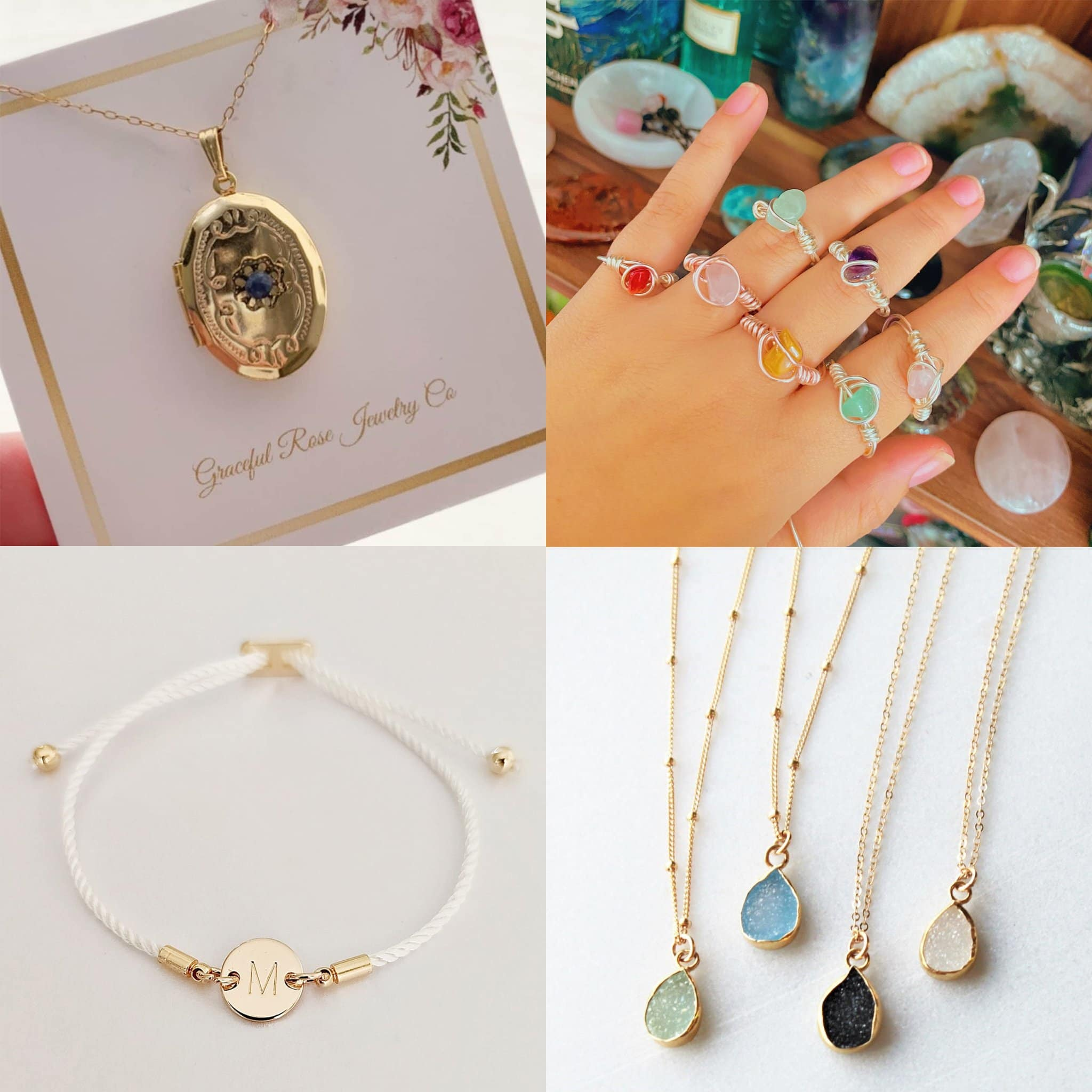 Jewelrycoxoxo Vintage Locket necklace, $120; HandmadebyMadsShop Wire Wrap Healing Crystal Gemstone Rings, $4.55; SheydaCrafts personalized initial bracelet, $18.48; TheSilverWren Tiny Druzy Raw Crystal Necklace, $36