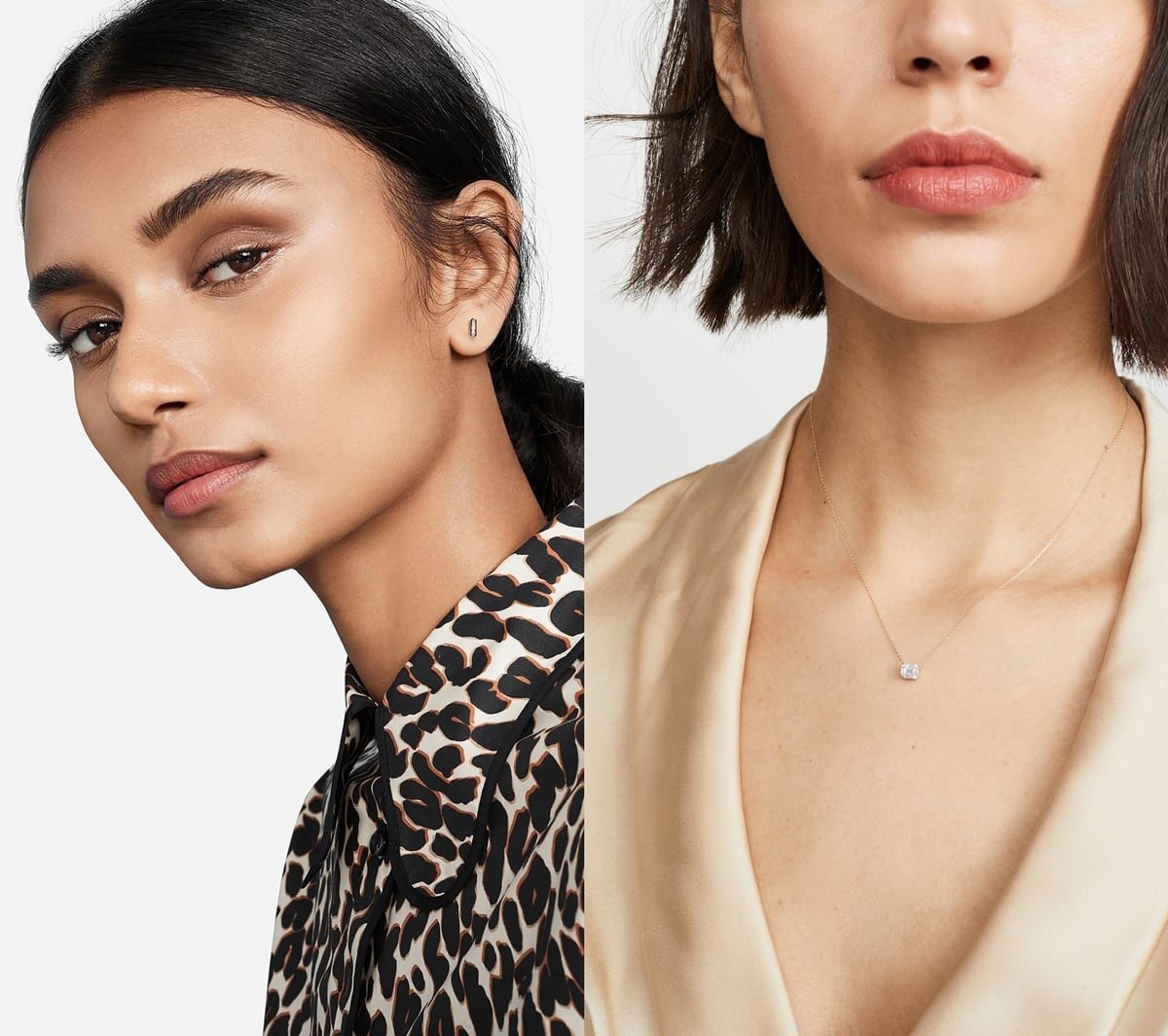Models wearing a 14k baguette bar post earrings and a 14k yellow gold necklace by Los Angeles native Adina Reyter