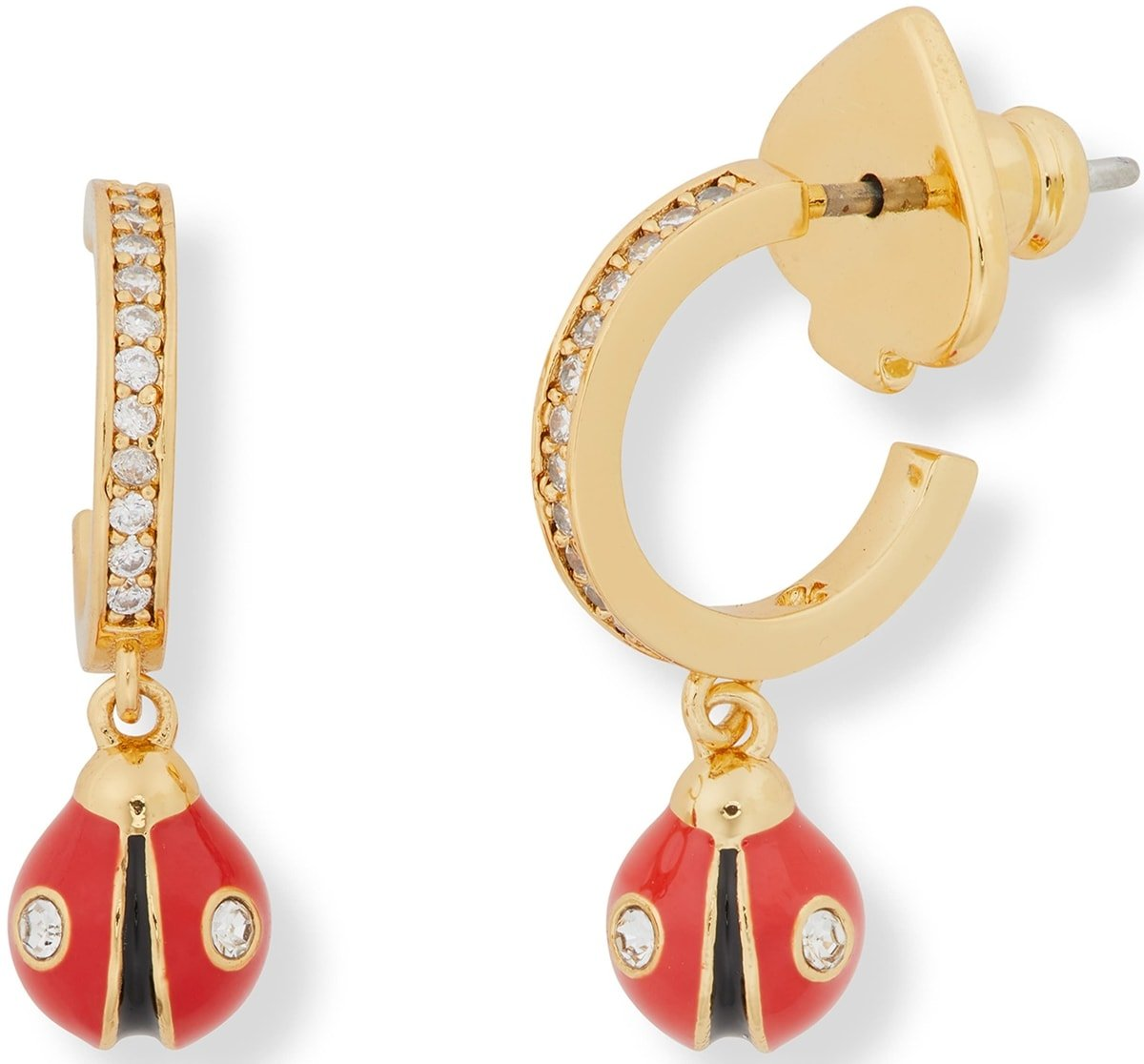 Dainty ladybugs hang from cubic zirconia–lined huggie hoops in these red Kate Spade earrings that make casual ensembles playful
