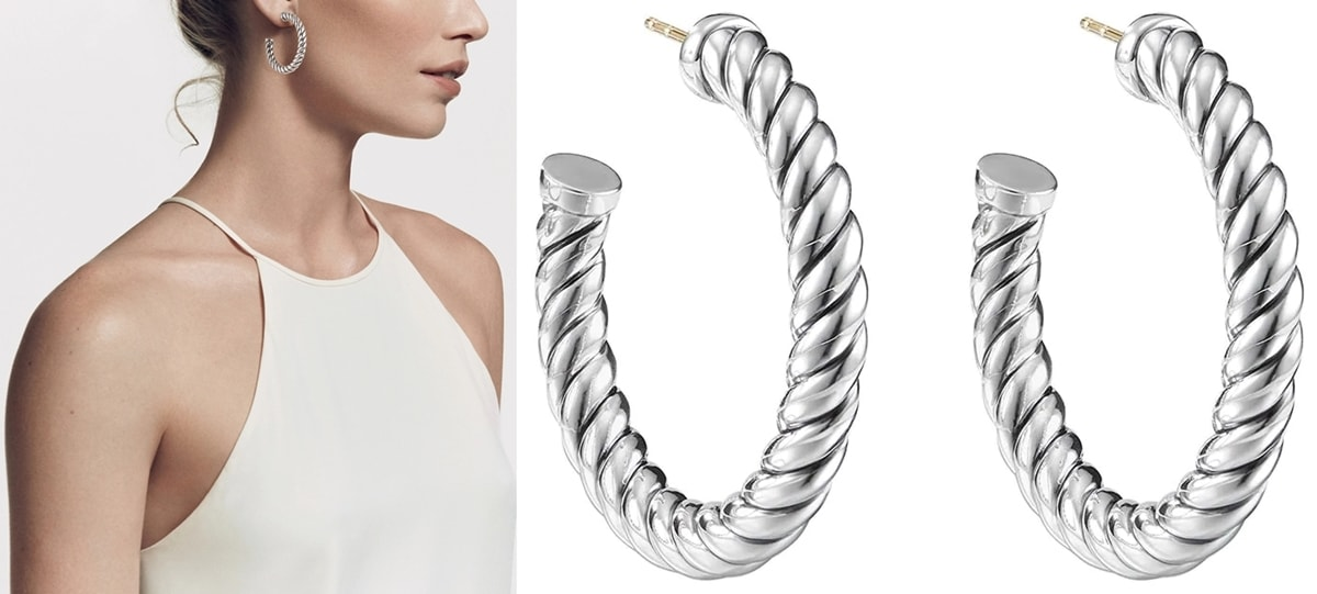 David Yurman's sterling silver hoop earrings are defined by the brand's iconic cable motif