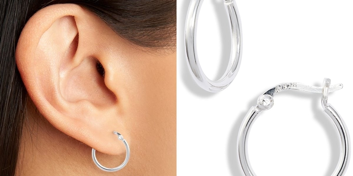 These slender sterling silver hoops are perfectly sized to go from day to night, alone or in an eclectic stack