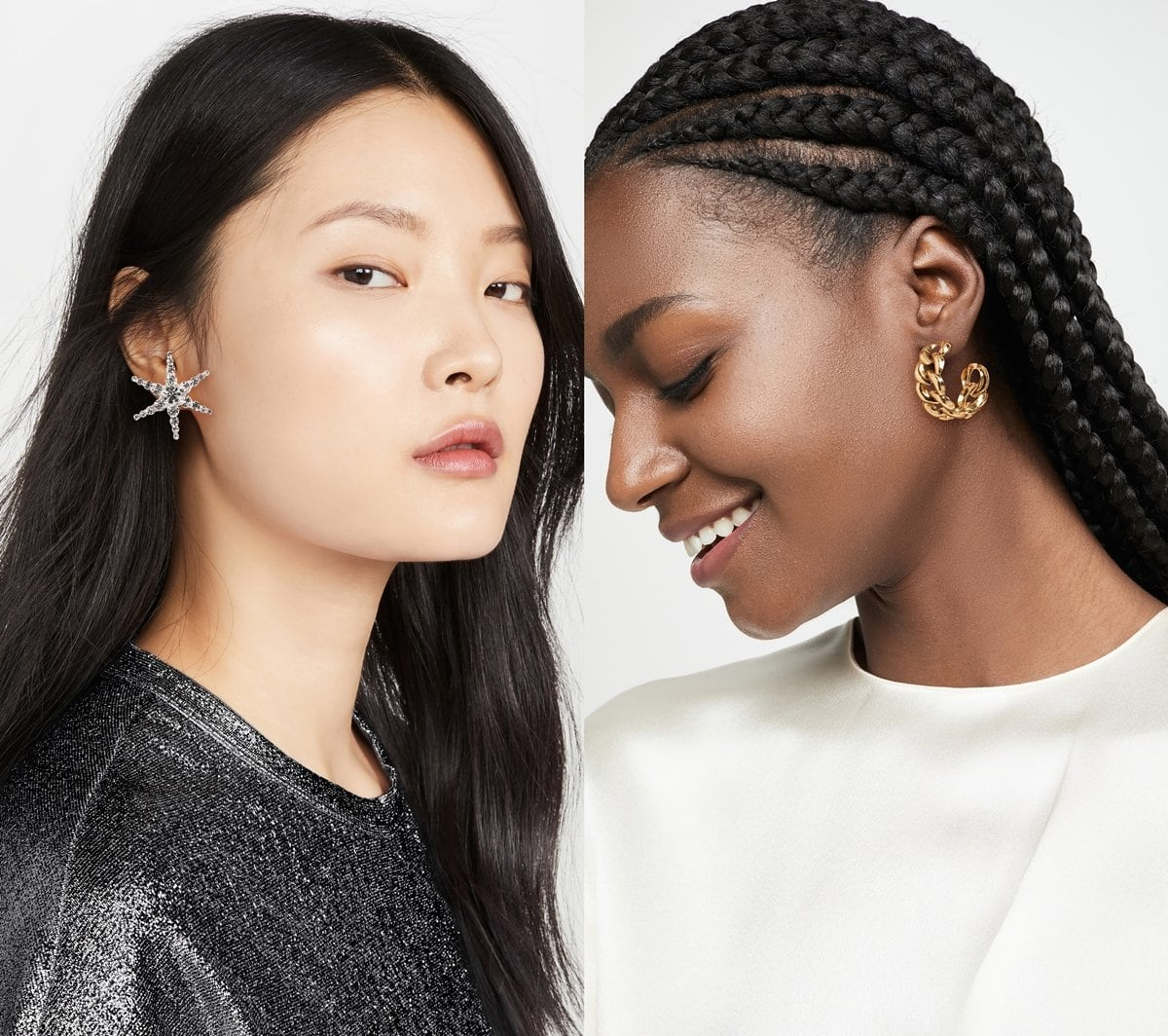 Models wearing Jennifer Behr's crystal Polaris earrings and gold Tara hoops