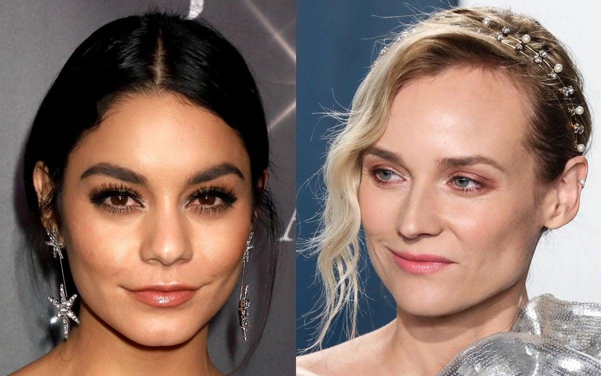 Vanessa Hudgens wears Estee crystal star earrings and Diane Kruger wears an Ines crystal pearl headband by Jennifer Behr