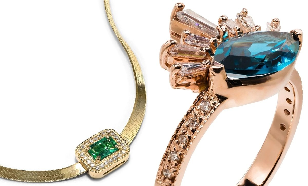 Jacquie Aiche 14K yellow gold herringbone necklace and 14kt gold topaz Burst diamond ring